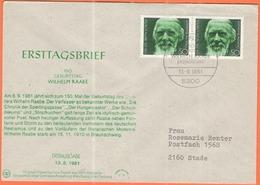 GERMANIA - GERMANY - Deutschland - ALLEMAGNE - 1981 - 2 X 150. Geburtstag Wilhelm Raabe - FDC - Bonn - [7] Repubblica Federale