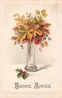 Bonne Année - Vase - Feuille - Automne - Houx - Style Rétro - Anno Nuovo