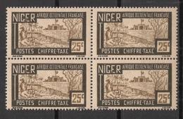 Niger - 1927 - Taxe TT N° Yv. 15 - Fort 25c - Bloc De 4 - Neuf Luxe ** / MNH / Postfrisch - Unused Stamps