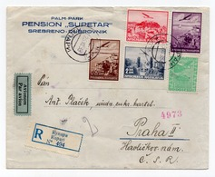 1938 YUGOSLAVIA, CROATIA, KUPARI TO PRAHA, HOTEL PANSION SUPETAR, 5 DIFFERENT STAMPS, AIR MAIL, RECORDED - 1931-1941 Königreich Jugoslawien