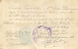LAISSEZ PASSER DELIVRE PAR LA MAIRIE DE VALMY POUR SE RENDRE A AVIZE - 1914-18
