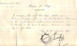 ATTESTATION MAIRIE D'AVIZE ECRITE ET SIGNEE  DU MAIRE JULES ALEXIS LUCOTTE - 1914-18