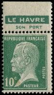"""FRANCE Poste ** - 170, Pub Privée """"le Havre"""", Pub Impression Recto-verso: 10c. Pasteur (Spink) - Cote: 125 - France"""
