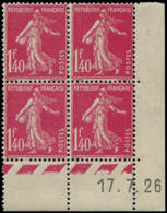 FRANCE Poste ** - 196, Bloc De 4 Coin Daté 17/07/1926: 1f.40 Rose Semeuse - Cote: 260 - Frankreich