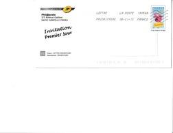 Env. Phil@poste 1er Jour Abbé Pierre - Invitation- Lot N° G4S/08P215 - Entiers Postaux