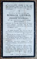 Rosalia Lievens, Echtgenoote Van Joannes Hendrickx - Larum Gheel 24 /01/1873 - 29 /01/1925 / ETAT - Todesanzeige