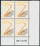 FRANCE Préoblitérés ** - 215A, Dentelé 12, Bloc De 4 CD 24/10/91: Saxophone - Cote: 120 - Vorausentwertungen