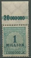 Deutsches Reich 1923 Korbdeckel Platten-Oberrand 314 A P OR B Postfrisch - Deutschland