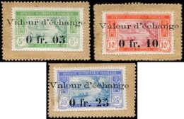 """COTE D'IVOIRE Poste (*) - 44/45 + 48, Timbres Monnaie, Surchargés """"Valeur D'échange"""" - Elfenbeinküste (1892-1944)"""