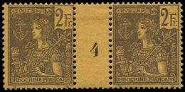 "INDOCHINE Poste * - 38, Paire Millésime ""4"": 2f. Violet S. Jaune (Maury) - Cote: 410 - Indochina (1889-1945)"