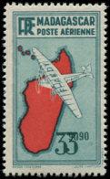 MADAGASCAR Poste Aérienne ** - 19a, Double Impression De La Valeur, Signé Calves - Cote: 1150 - Madagascar (1889-1960)