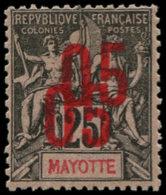 MAYOTTE Poste * - 25a, Double Surcharge, Signé Scheller: 05 S. 25c. - Cote: 420 - Mayotte (1892-2011)