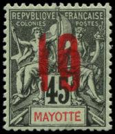 MAYOTTE Poste * - 28a, Double Surcharge, Signé Calves (pli): 10 S. 45c. - Cote: 420 - Mayotte (1892-2011)