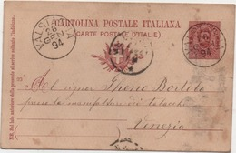 Cartolina Postale Cent. 10 Umberto I° Con Annullo Valstagna (Vicenza) 26.01.1894 - 1878-00 Umberto I