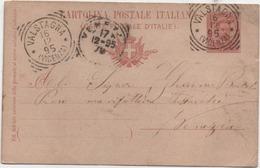Cartolina Postale Cent. 10 Umberto I° Con Annullo Tondoriquadrato Valstagna (Vicenza) 16.12.1895 - 1878-00 Humbert I