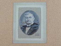 Portrait De Mr CRUVIEUX Sur Soie Brodée  Directeur E.N.P Voiron 1921 (Ecole Nationale Professionnelle ) - Voiron