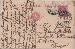 Cartolina Postale Cent. 25 Michetti Con Annullo Carpenedo (Venezia) 23.12.1922 - Interi Postali