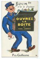 """JOLIE CPA MULTIVUES CARTE A SYSTEME PUY - GUILLAUME, """" BOUM V'LA LE FACTEUR, OUVREZ LA BOITE ET VOUS VERREZ """", 63 - France"""