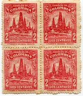 Lote 552b, Colombia, 1944, Sello, Stamp, Petroleras, Petroleo, Oil Well, Litografia Nacional, Block Of 4 Stamps - Colombia