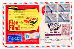 1984 YUGOSLAVIA, CROATIA, SPLIT TO SPRINGFIELD, USA, KODAK COVER,REGISTERED AIR MAIL - 1945-1992 Socialist Federal Republic Of Yugoslavia