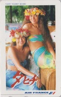 TC Japon / 110-011 - AIR FRANCE TAHITI / PF POLYNESIE French Polynesia - FEMME VAHINE - GIRL Japan AIRLINES Phonecard 41 - Japon