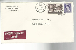52994 ) Canada Special Delivery Lytton Vancouver Postmarks 1954 - Special Delivery