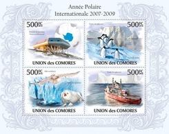 Comoros, 2010. [cm10109] International Polar Year 2007 2009,Station Antarctic, Penguins, Owls, Polar Ship (s/s+bl) - Briefmarken