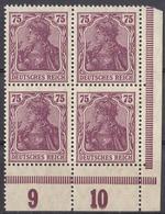 GERMANIA, ALLEMAGNE, GERMANY - 1921 - Due Quartine Nuove MNH Di Yvert 126 E 131 Con Margini E Angolo Di Foglio Numerati - Nuevos