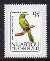 TONGA NIUAFO'OU - 1983 9S GREEN HONEYEATER BIRD STAMP SELF-ADHESIVE ON BACKING PAPER FINE MNH ** SG 32 - Tonga (1970-...)
