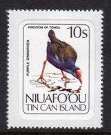 TONGA NIUAFO'OU - 1983 10S PURPLE SWAMPHEN BIRD STAMP SELF-ADHESIVE ON BACKING PAPER FINE MNH ** SG 33 - Tonga (1970-...)