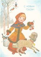 Bird - Birds - Oiseau - Vogel - Uccello - Pássaro - Bullfinches In Winter Landscape - Girl With Poodle Dog - USSR - Christmas