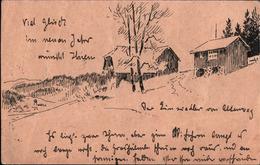 ! 1924 Ganzsache Mit Zeichnung Aus Hinterzarten Im Schwarzwald,  Autograph Absender Hermann Dischler, Maler, - Autographs