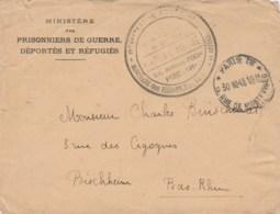 LETTRE FM MINISTERE DES PRISONNIERS DE GUERRE DEPORTES ET REFUGIES PARIS 30/10/45 POUR BISCHHEIM - Marcophilie (Lettres)