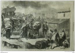 Habitants De Torre Del Greco Fuyant Devant L'éruption De Vésuve - Page Original 1861 - Historische Documenten