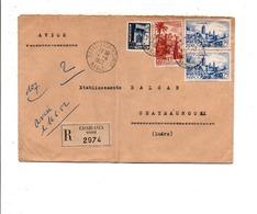 MAROC AFFRANCHISSEMENT COMPOSE SUR LETTRE AVION RECOMMANDEE DE CASABLANCA BOURSE POUR LA FRANCE 1952 - Lettres & Documents