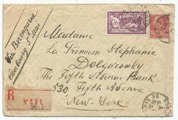 N°240+243 LETTRE REC PARIS 1929 POUR USA VIA BERENGARIA CEHERBOURG 5 MAI  AU TARIF - Marcofilie (Brieven)