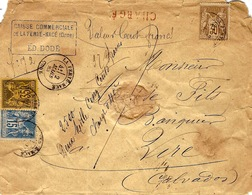 "1883- Enveloppe CHARGE V D 100 F. + "" 2500 Deux Mille Cinq Cents / Charge 0,40 "" Manuscrit - Affr. 80 C Dont N°93 - Storia Postale"