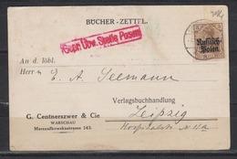 Besetzung I.WK Deutsche Post In Polen Bücherzettel Mit 1x 1 Von Warschau/4.12.17 Nach Leipzig, Zensur Posen - Besetzungen 1914-18