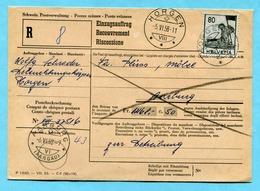 Einzugsauftrag Horgen 1958 - Absender: Wolfg. Schrader - Lettres & Documents