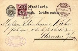 SUISSE. Entier Postal + Complément Ayant Circulé En 1887 à Destination De Hanau. - Enteros Postales
