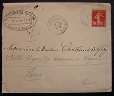 Availles-Limouzine 1914 (Vienne) Lettre Avec Cacher De G. Cherière Notaire à Angers - Storia Postale