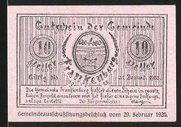 Notgeld Frankenburg 1920, 10 Heller, Stadtwappen, Ruine Hofberg - Oesterreich
