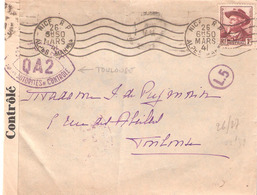 Lettre De NICE Pour TOULOUSE Avec Cachet OUVERT PAR LES AUTORITES DE CONTROLE QA2 De TOULOUSE - Marcophilie (Lettres)