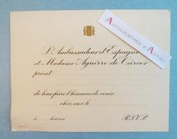Ambassadeur Espagne & Mme Aguirre De Carcer - Carton D'invitation - Espana - Documenti Storici