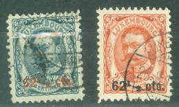 Luxembourg Yvert 86 Et 87 Ou Michel 89 Et 90 Ob TB - 1906 Guillaume IV