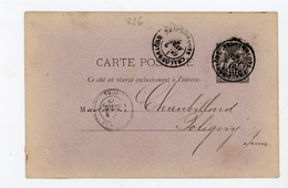 ENTIER 10c TYPE SAGE N°Yt 89-CP1 Obli. DE CHALON SUR SAONE & Arrivée À - Standard Postcards & Stamped On Demand (before 1995)