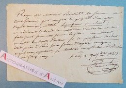 Etienne ARAGO 1843 Reçu Autographe - Opéra Comique - Baudiot - Professeur De Chant - Né à Perpignan - Autogramme & Autographen
