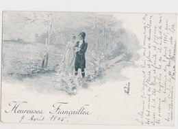 Carte Fantaisie Dessinée / Couple / Heureuses Fiançailles / Delachaux & Niestlé- Neuchâtel - Paare
