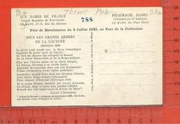 """PUBLICITE : Le Mans , """" Aux Dames De France """" """" Pharmacie Hamel """" , Carte D'entrée Fête De Bienfaisance 1930 - Publicité"""