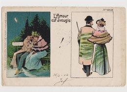 Carte Fantaisie Humoristique / Couple / L'amour Est Aveugle - Paare